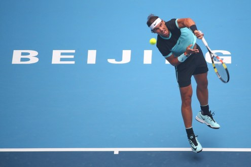 Rafael Nadal of Spain serves in his match against Di Wu of China during day 4 of the 2015 China Open at the National Tennis Centre on October 6, 2015 in Beijing, China. (Oct. 5, 2015 - Source: Chris Hyde/Getty Images AsiaPac)