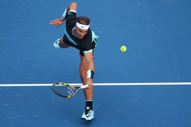 BEIJING, CHINA - OCTOBER 09: Rafael Nadal of Spain plays a backhand in his match against Jack Sock of the USA on day 7 of the 2015 China Open at the National Tennis Centre on October 9, 2015 in Beijing, China. (Photo by Chris Hyde/Getty Images)