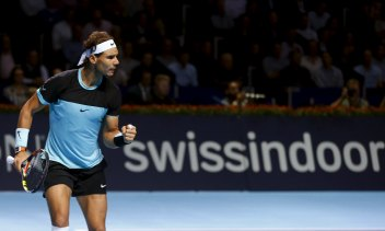 Rafael Nadal of Spain reacts during his semi-final match against France'e Richard Gasquet at the Swiss Indoors ATP men's tennis tournament in Basel, Switzerland, October 31, 2015. REUTERS/Arnd Wiegmann