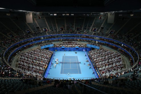 General view of Rafael Nadal of Spain in his match against Vasek Pospisil of Canada on day 5 of the 2015 China Open at the National Tennis Centre on October 7, 2015 in Beijing, China. (Oct. 6, 2015 - Source: Chris Hyde/Getty Images AsiaPac)