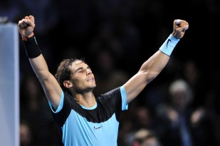 BASEL, SWITZERLAND - OCTOBER 31: Rafael Nadal of Spain celebrates his victory during the sixth day of the Swiss Indoors ATP 500 tennis tournament against Richard Gasquet of France at St Jakobshalle on October 31, 2015 in Basel, Switzerland. (Photo by Harold Cunningham/Getty Images)