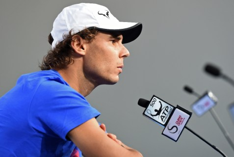 Rafael Nadal of Spain listens to a question during a press conference at the China Open tennis tournament in Beijing on October 4, 2015 (AFP Photo/Mandy Wang)