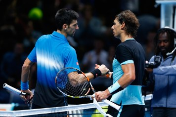 LONDON, ENGLAND - NOVEMBER 21: Novak Djokovic of Serbia is congratulated by Rafael Nadal of Spain in the semi final during the Barclays ATP World Tour Finals on Day Seven at O2 Arena on November 21, 2015 in London, England. (Photo by Julian Finney/Getty Images)