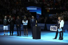 Lleyton Hewitt of Australia (R) is presented with the ATP Roll of Honour watched on by (from L-R) John McEnroe, Boris Becker, Mats Wilander, Rafael Nadal and Chris Kermode during day four of the Barclays ATP World Tour Finals at the O2 Arena on November 18, 2015 in London, England. (Nov. 17, 2015 - Source: Clive Brunskill/Getty Images Europe)