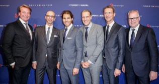 STUTTGART, GERMANY - NOVEMBER 10: (L-R) Christian Kohlhase, Ingo Wilts, Rafael Nadal, Joachim Aisenbrey, Holger Blecker and Uwe Hildebrand attend the Tommy Hilfiger X Rafael Nadal @ Breuninger on November 10, 2015 in Stuttgart, Germany. (Photo by Franziska Krug/Getty Images for Tommy Hilfiger)