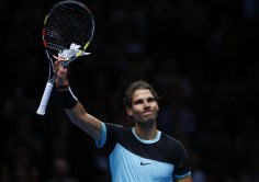 LONDON, ENGLAND - NOVEMBER 18: Rafael Nadal of Spain celebrates victory in his men's singles match against Andy Murray of Great Britain during day four of the Barclays ATP World Tour Finals at the O2 Arena on November 18, 2015 in London, England. (Photo by Julian Finney/Getty Images)