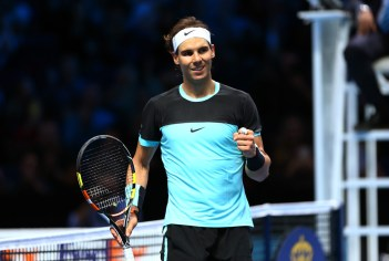 Rafael Nadal of Spain celebrates his victory during the men's singles match against David Ferrer of Spain on day six of the Barclays ATP World Tour Finals at the O2 Arena on November 20, 2015 in London, England. (Nov. 19, 2015 - Source: Julian Finney/Getty Images Europe)