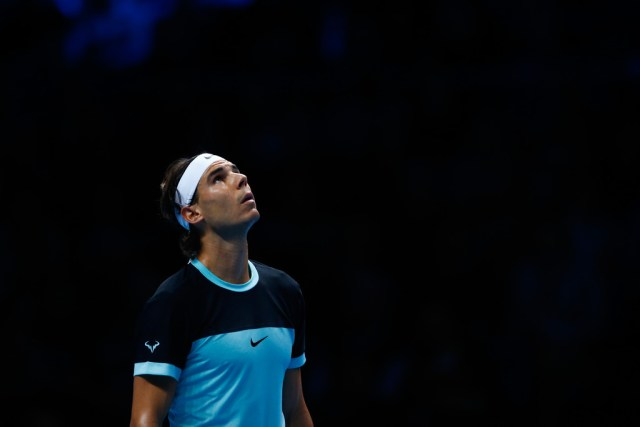 Rafael Nadal of Spain reacts during the men's singles semi final against Novak Djokovic of Serbia on day seven of the Barclays ATP World Tour Finals at the O2 Arena on November 21, 2015 in London, England. (Nov. 20, 2015 - Source: Julian Finney/Getty Images Europe)
