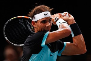 Rafael Nadal of Spain in action against Stan Wawrinka of Switzerland during Day 5 of the BNP Paribas Masters held at AccorHotels Arena on November 6, 2015 in Paris, France. (Nov. 5, 2015 - Source: Dean Mouhtaropoulos/Getty Images Europe)