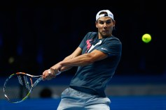 LONDON, ENGLAND - NOVEMBER 13: Rafael Nadal of Spain in a practice session during the Barclays ATP World Tour Finals previews at O2 Arena on November 13, 2015 in London, England. (Photo by Julian Finney/Getty Images)
