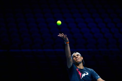 LONDON, ENGLAND - NOVEMBER 13: Rafael Nadal of Spain serves in a practice session during the Barclays ATP World Tour Finals previews at O2 Arena on November 13, 2015 in London, England. (Photo by Julian Finney/Getty Images)