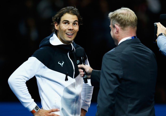 Rafael Nadal of Spain is interviewed by Mark Petchey after his men's singles match against Stanislas Wawrinka of Switzerland during day two of the Barclays ATP World Tour Finals at O2 Arena on November 16, 2015 in London, England. (Nov. 15, 2015 - Source: Julian Finney/Getty Images Europe)