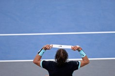 PARIS, FRANCE - NOVEMBER 04: Rafael Nadal of Spain changes his headband during his Men's second round match against Lukas Rosol of Czech Repubilc on day three of the BNP Paribas Masters at Palais Omnisports de Bercy on November 4 2015 in Paris, France. (Photo by Aurelien Meunier/Getty Images)