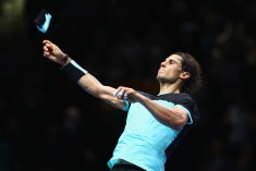 Rafael Nadal of Spain celebrates victory in his men's singles match against Stanislas Wawrinka of Switzerland during day two of the Barclays ATP World Tour Finals at O2 Arena on November 16, 2015 in London, England. (Nov. 15, 2015 - Source: Clive Brunskill/Getty Images Europe)