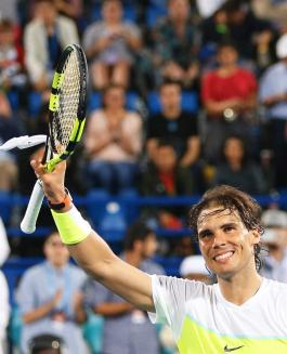Spain's Rafael Nadal celebrates after defeating Milos Raonic of Canada in their final match of the Mubadala World Tennis Championship in Abu Dhabi, United Arab Emirates, 02 January 2016. (Tenis) EFE/EPA/ALI HAIDER