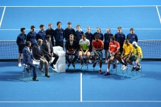 SYDNEY, AUSTRALIA - JANUARY 11: Australia Team, Pat Cash, Lleyton Hewitt and Nick Kyrgios and The World Team, Mats Wilander, Rafael Nadal and Gael Monfils address the crowd following the FAST4 Tennis exhibition matchs at Allphones Arena on January 11, 2016 in Sydney, Australia. (Photo by Brendon Thorne/Getty Images)