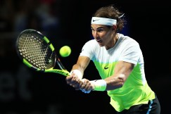 SYDNEY, AUSTRALIA - JANUARY 11: Rafael Nadal of Spain plays a backhand during the FAST4 Tennis exhibition match between Rafael Nadal and Lleyton Hewitt at Allphones Arena on January 11, 2016 in Sydney, Australia. (Photo by Brendon Thorne/Getty Images)