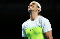 SYDNEY, AUSTRALIA - JANUARY 11: Rafael Nadal of Spain reacts after a point during the FAST4 Tennis exhibition match between Rafael Nadal and Lleyton Hewitt at Allphones Arena on January 11, 2016 in Sydney, Australia. (Photo by Brendon Thorne/Getty Images)