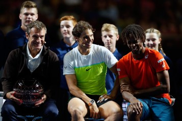 Mats Wilander, Rafael Nadal and Gael Monfils address the crowd following the FAST4 Tennis exhibition matchs at Allphones Arena on January 11, 2016 in Sydney, Australia. (Jan. 10, 2016 - Source: Zak Kaczmarek/Getty Images AsiaPac)