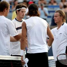 MONTREAL - AUGUST 07: Philip Bester and Pierre-Ludovic Duclos of Canada congratulate Rafael Nadal of Spain and Lleyton Hewitt of Australia during the Coupe Rogers August 7, 2007 at Stade Uniprix in Montreal, Quebec, Canada. (Photo by Matthew Stockman/Getty Images)