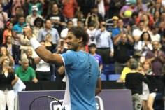 SAN JUAN, PUERTO RICO - MARCH 21: Rafael Nadal participates in Exhibition Match against Victor Estrella at Coliseo Jose M. Agrelot on March 21, 2016 in San Juan, Puerto Rico. (Photo by GV Cruz/WireImage)