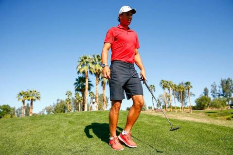 Rafael Nadal playing golf at the Indian Wells Golf Resort in Indian Wells, California Thursday, March 10, 2016. (Photo by Jared Wickerham/BNP Paribas Open)