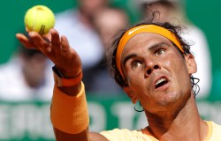 Spain's Rafael Nadal serves the ball to Austria's Dominic Thiem during their match of the Monte Carlo Tennis Masters tournament in Monaco, Thursday, April 14, 2016. (AP Photo/Lionel Cironneau)