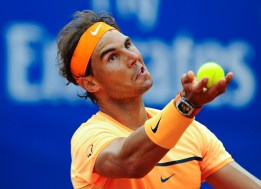 BARCELONA, SPAIN - APRIL 22: Rafael Nadal of Spain serves against Fabio Fognini of Italy during day five of the Barcelona Open Banc Sabadell at the Real Club de Tenis Barcelona on April 22, 2016 in Barcelona, Spain. Nadal won 6-2, 7-5. (Photo by David Ramos/Getty Images)