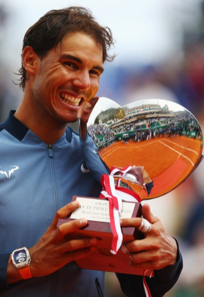 Rafael Nadal of Spain celebrates with the trophy after victory in the singles final match against Gael Monfils of France during day eight of the Monte Carlo Rolex Masters at Monte-Carlo Sporting Club on April 17, 2016 in Monte-Carlo, Monaco. (April 16, 2016 - Source: Michael Steele/Getty Images Europe)