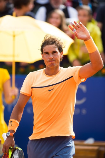 BARCELONA, SPAIN - APRIL 20: Rafael Nadal celebrates after defeating Marcel Granollers during day three of the Barcelona Open Banc Sabadell at the Real Club de Tenis Barcelona on April 20, 2016 in Barcelona, Spain. (Photo by Alex Caparros/Getty Images)