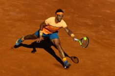 BARCELONA, SPAIN - APRIL 23: Rafael Nadal of Spain plays a forehand against Philipp Kohlschreiber of Germany during day six of the Barcelona Open Banc Sabadell at the Real Club de Tenis Barcelona on April 23, 2016 in Barcelona, Spain. Nadal won 6-3, 6-3. (Photo by David Ramos/Getty Images)