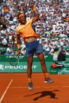 during the semi final match on day seven of the Monte Carlo Rolex Masters at Monte-Carlo Sporting Club on April 16, 2016 in Monte-Carlo, Monaco.