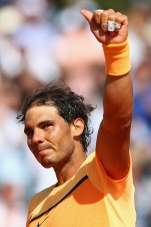 Rafael Nadal of Spain celebrates acknowledges the crowds applause after his 2-6,6-4,6-2 victory during his semi-final match against Andy Murray of Great Britain during the Monte Carlo Rolex Masters at Monte-Carlo Sporting Club on April 16, 2016 in Monte-Carlo, Monaco. (April 15, 2016 - Source: Michael Steele/Getty Images Europe)