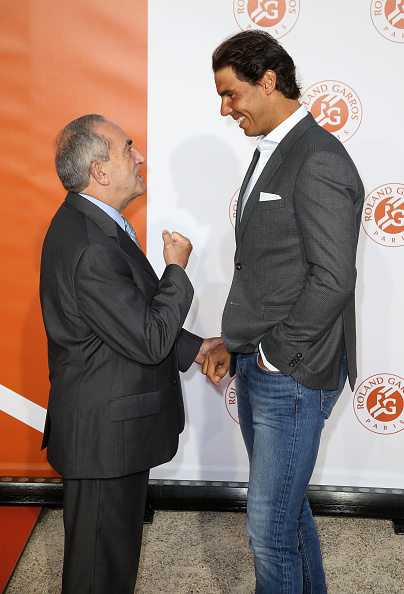 PARIS, FRANCE - MAY 19: President of French Tennis Federation (FFT) Jean Gachassin greets Rafael Nadal of Spain at the 2016 French Open Players' Party held at the Petit Palais on May 19, 2016 in Paris, France. (Photo by Jean Catuffe/Getty Images)