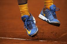 Rafael Nadal, from Spain, serves to Andy Murray, from Britain, during the semifinal Madrid Open tennis tournament match in Madrid, Spain, Saturday, May 7, 2016. Murray won 7-5, 6-4 and will play the final on Sunday 8. (AP Photo/Francisco Seco)