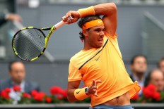 MADRID, SPAIN - MAY 07: Rafael Nadal of Spain in action against Andy Murray of Great Britain in the semi finals during day eight of the Mutua Madrid Open tennis tournament at the Caja Magica on May 07, 2016 in Madrid, Spain. (Photo by Julian Finney/Getty Images)