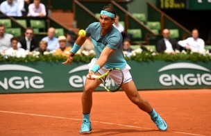 PARIS, FRANCE - MAY 26: Rafael Nadal of Spain volleys during the Men's Singles second round match against Facundo Bagnis of Argentina on day five of the 2016 French Open at Roland Garros on May 26, 2016 in Paris, France. (Photo by Dennis Grombkowski/Getty Images)