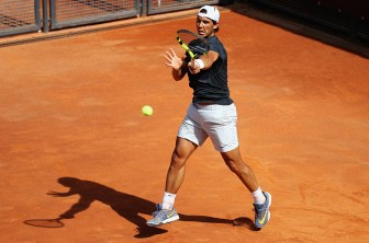 ROME, ITALY - MAY 09: Rafa Nadal of Spain practises during day two of The Internazionali BNL d'Italia 2016 on May 09, 2016 in Rome, Italy. (Photo by Matthew Lewis/Getty Images)