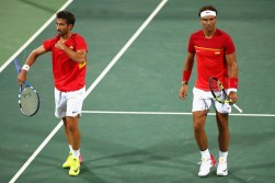Rafael Nadal and Marc Lopez of Spain in action during a Men's Doubles Quarterfinals match against Oliver Marach and Alexander Peya of Austria on Day 4 of the Rio 2016 Olympic Games at the Olympic Tennis Centre on August 9, 2016 in Rio de Janeiro, Brazil. (Aug. 8, 2016 - Source: Clive Brunskill/Getty Images South America)