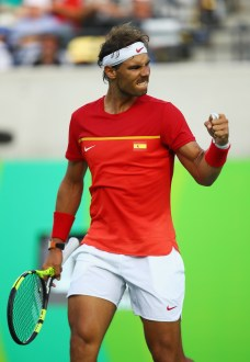 Rafael Nadal of Spain celebrates during the match against Thomaz Bellucci of Brazil in the Men's Singles Quarterfinal on Day 7 of the Rio 2016 Olympic Games at the Olympic Tennis Centre on August 12, 2016 in Rio de Janeiro, Brazil. (Aug. 11, 2016 - Source: Clive Brunskill/Getty Images South America)