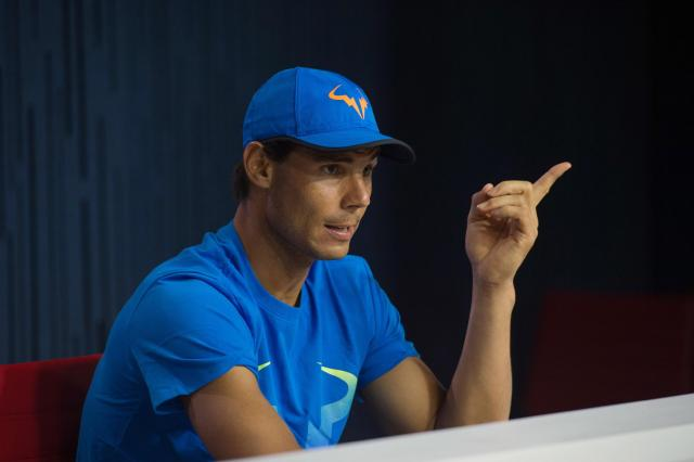 Rafael Nadal, of Spain, speaks during a media availability for the U.S. Open at the Billie Jean King National Tennis Center, Friday, Aug. 26, 2016, in New York. (AP Photo/Bryan R. Smith)