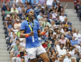 Rafael Nadal, of Spain, celebrates a point during play with Lucas Pouille, of France, during the fourth round of the U.S. Open tennis tournament, Sunday, Sept. 4, 2016, in New York. (AP Photo/Alex Brandon)