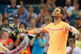 BRISBANE, AUSTRALIA - JANUARY 03: Rafael Nadal of Spain celebrates winning his match against Alexandr Dolgopolov of Ukraine on day three of the 2017 Brisbane International at Pat Rafter Arena on January 3, 2017 in Brisbane, Australia. (Photo by Chris Hyde/Getty Images)