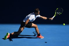 Spain's Rafael Nadal hits a return against Russia's Alexander Zverev during their men's singles third round match on day six of the Australian Open tennis tournament in Melbourne on January 21, 2017. / AFP / SAEED KHAN / IMAGE RESTRICTED TO EDITORIAL USE - STRICTLY NO COMMERCIAL USE (Jan. 20, 2017 - Source: AFP)