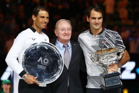 MELBOURNE, AUSTRALIA - JANUARY 29: Rafael Nadal of Spain, Rod Laver and Roger Federer of Switzerland pose pose after the Men's Final match against on day 14 of the 2017 Australian Open at Melbourne Park on January 29, 2017 in Melbourne, Australia. (Photo by Clive Brunskill/Getty Images)