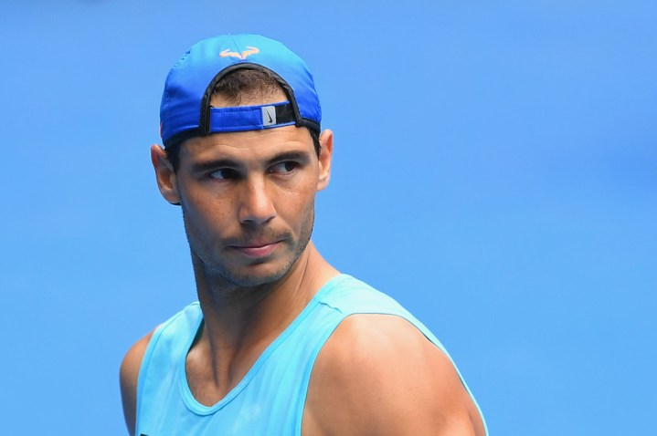 Rafael Nadal of Spain looks on during a practice session ahead of the 2017 Australian Open at Melbourne Park on January 14, 2017 in Melbourne, Australia. (Jan. 13, 2017 - Source: Quinn Rooney/Getty Images AsiaPac)