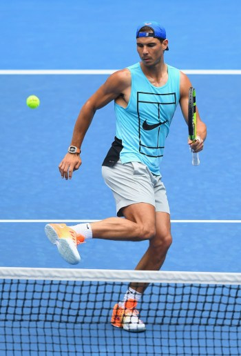 Rafael Nadal of Spain kicks the ball on during a practice session ahead of the 2017 Australian Open at Melbourne Park on January 14, 2017 in Melbourne, Australia. (Jan. 13, 2017 - Source: Quinn Rooney/Getty Images AsiaPac)