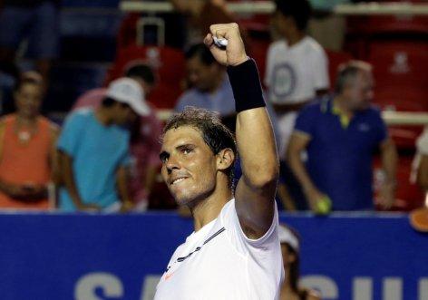 ennis - Mexican Open - Men's Singles - Quarter-Final - Acapulco, Mexico- 02/03/17. Spain's Rafael Nadal celebrates his victory against Yoshihito Nishioka of Japan. REUTERS/Henry Romero