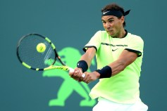 Rafael Nadal of Spain returns a shot to Philipp Kohlschreiber of Germany during the Miami Open at the Crandon Park Tennis Center on March 26, 2017 in Key Biscayne, Florida. (March 25, 2017 - Source: Matthew Stockman/Getty Images North America)