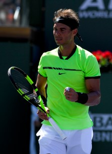 Rafael Nadal, of Spain, celebrates during his match with Guido Pella, of Argentina, at the BNP Paribas Open tennis tournament, Sunday, March 12, 2017, in Indian Wells, Calif. (AP Photo/Mark J. Terrill)